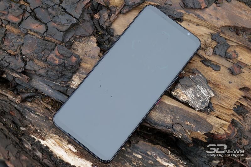 ASUS ROG Phone 5, лицевая панель: два динамика по обе стороны от экрана, возле верхнего – датчик освещенности, индикатор состояния и фронтальная камера