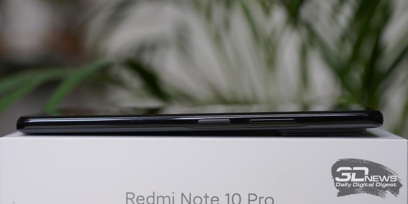 Xiaomi Redmi Note 10 Pro, правая грань: клавиша включения/блокировки со встроенным датчиком отпечатков и клавиша регулировки громкости/спуска затвора камеры